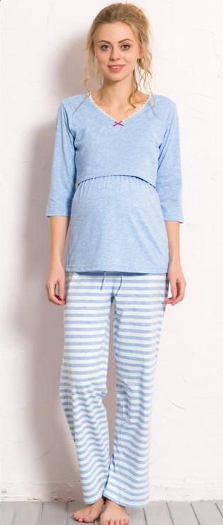 Dámské pyžamo dlouhé mateřské Vienetta Secret Lenka