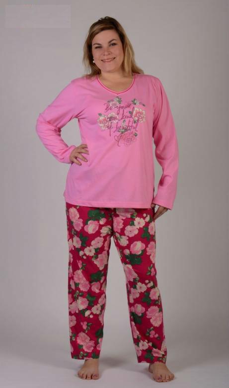 Dámské pyžamo dlouhé nadměr Vienetta Secret Alena