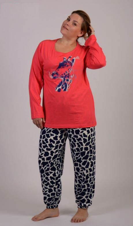 Dámské pyžamo dlouhé nadměr Vienetta Secret Safari