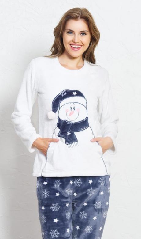 Dámské pyžamo dlouhé Vienetta Secret Snowman