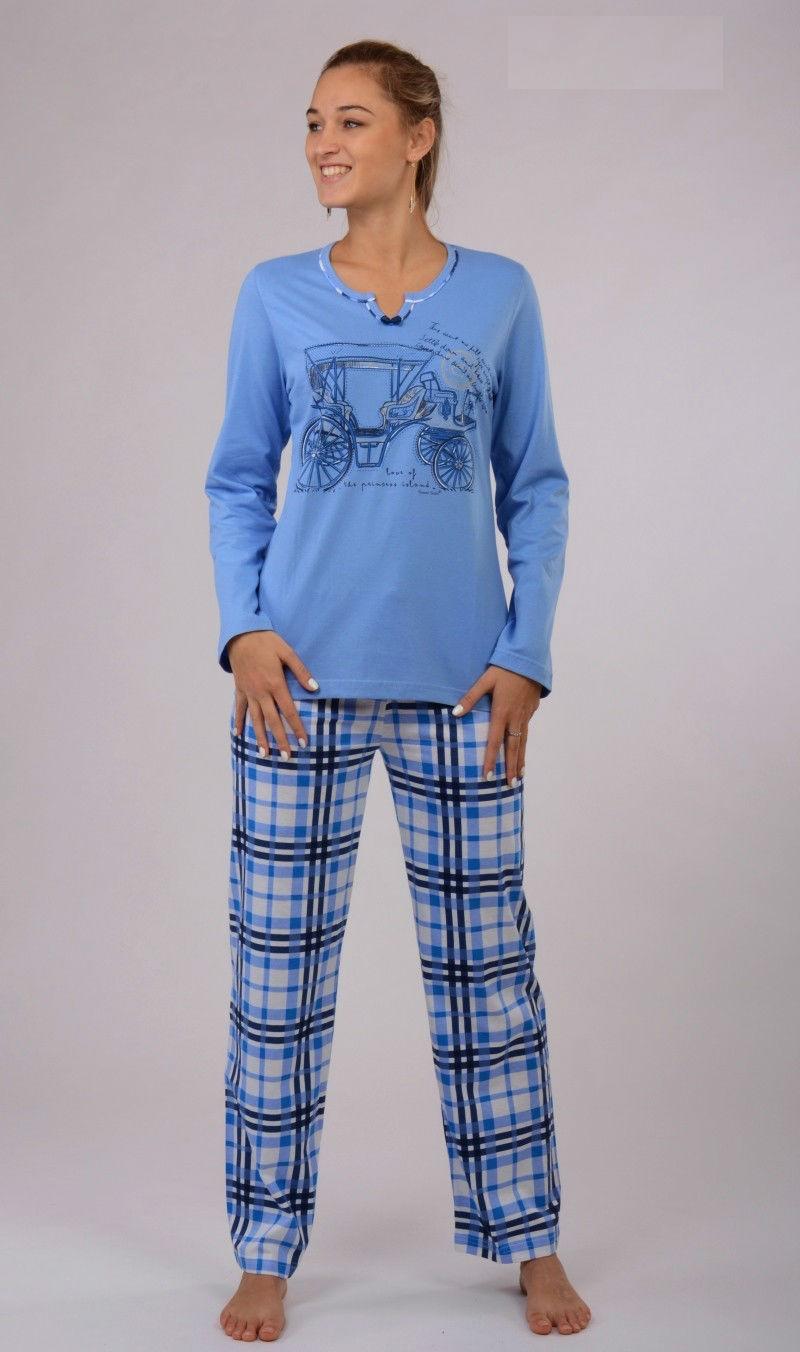Dámské pyžamo dlouhé Vienetta Secret Auto modré