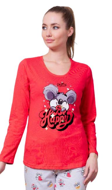 Levně Dámské pyžamo dlouhé Vienetta Secret Be happy