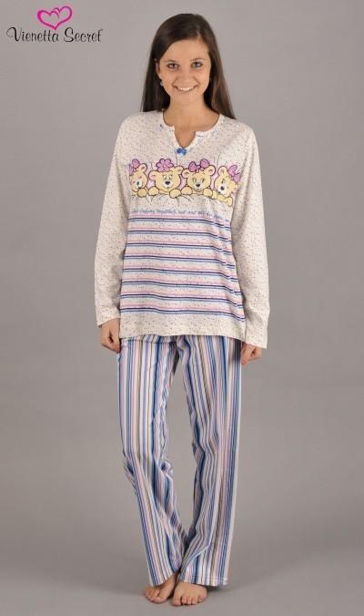 Dámské pyžamo dlouhé Vienetta Secret Čtyřčata