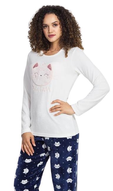 Dámské pyžamo dlouhé Vienetta Secret Kitty