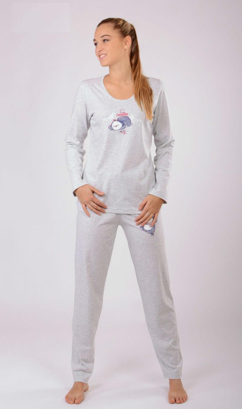 Dámské pyžamo dlouhé Vienetta Secret Malý tučňák