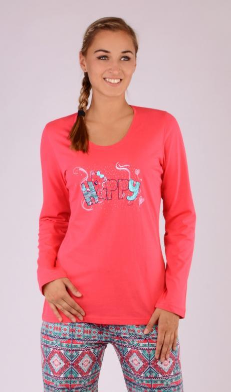 Dámské pyžamo dlouhé Vienetta Secret Méďa Happy