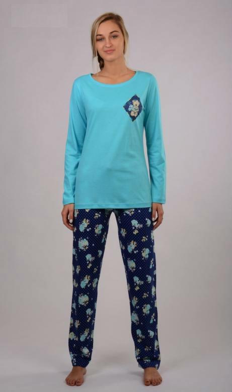 Dámské pyžamo dlouhé Vienetta Secret Medvěd a růže