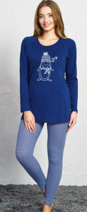 Dámské pyžamo dlouhé Vienetta Secret Tučňák s čepicí