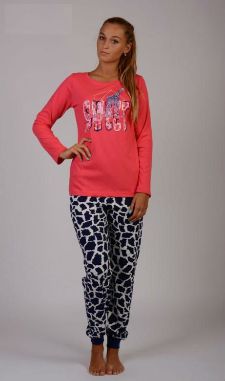 Dámské pyžamo dlouhé Vienetta Secret Žirafa Sweet