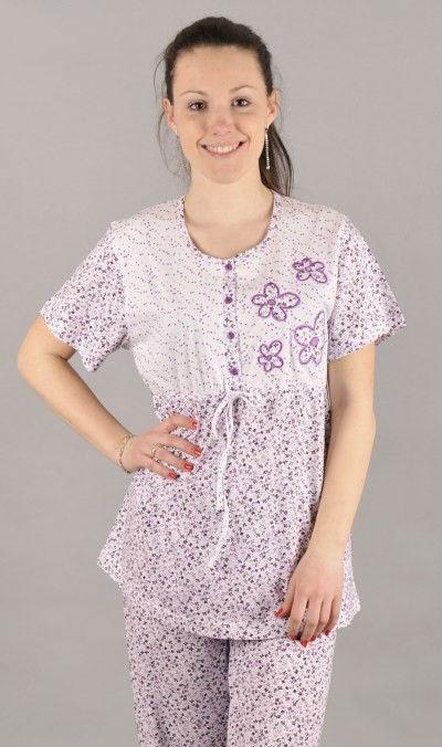 Dámské pyžamo krátký rukáv Vienetta Secret Květinová aplikace