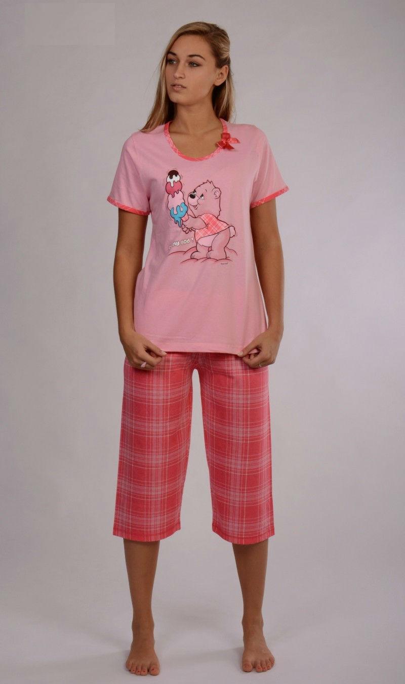 Dámské pyžamo růžové kapri Vienetta Secret Medvěd se zmrzlinou