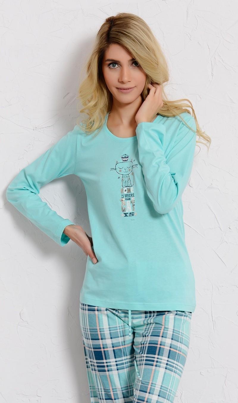 Dámské pyžamo Vienetta Secret dlouhé Kočka s korunkou