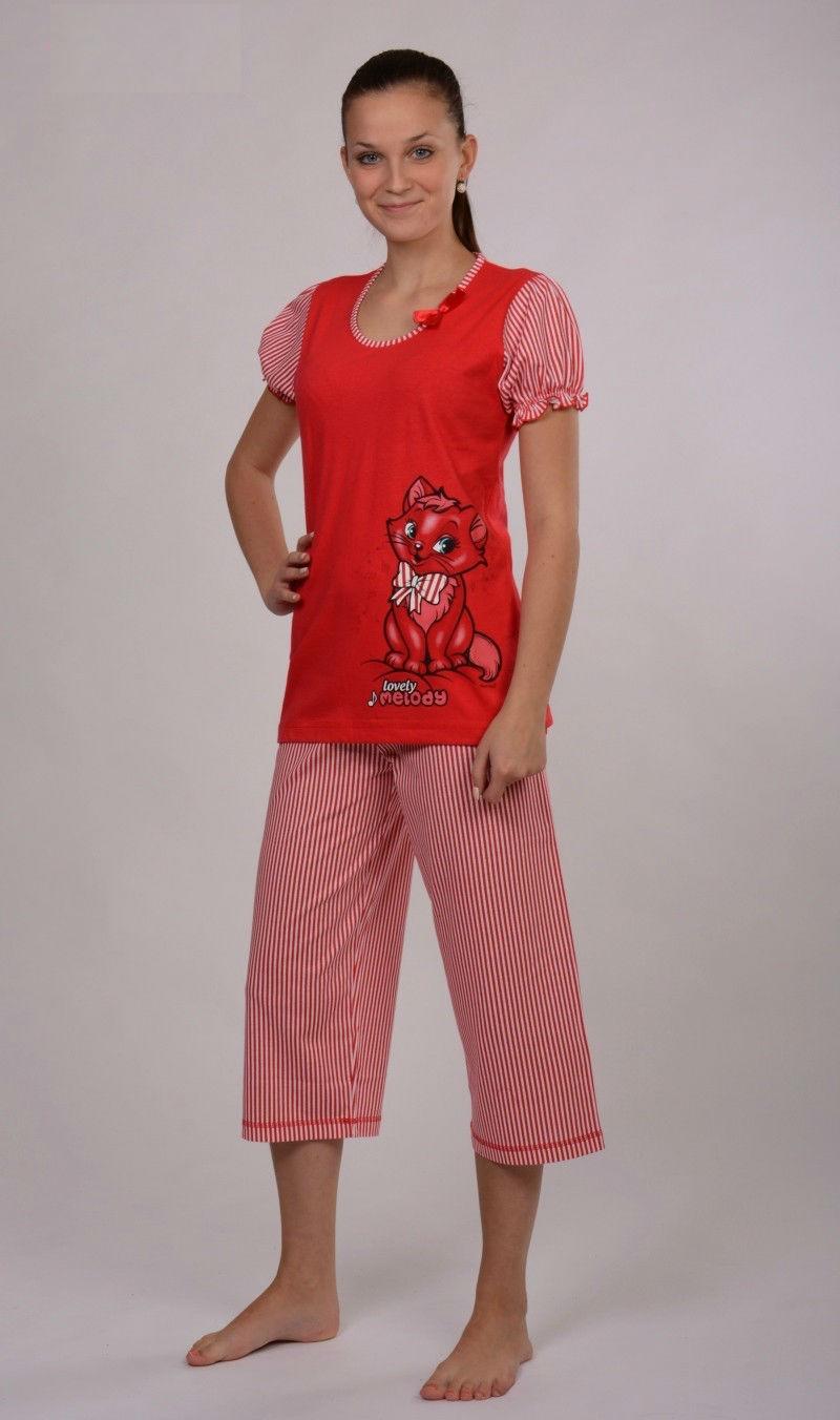 Dámské pyžamo Vienetta Secret (kapri) - Kočka s mašlí