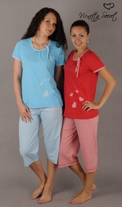 Dámské pyžamo Vienetta Secret (kapri) - Srdíčková aplikace