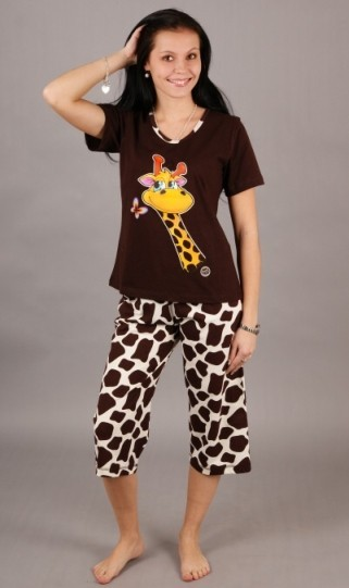 Dámské pyžamo Vienetta Secret (kapri) - Žirafí hlava, flekaté kalhoty