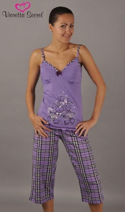 Dámské pyžamo Vienetta Secret (ramínka,kapri) - Zamilovaní zajíci