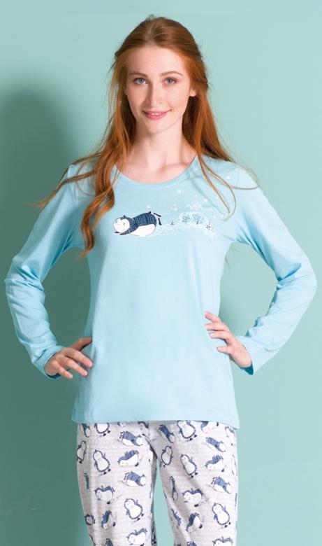 Dámské pyžamo Vienetta Secret Tučňák na sněhu