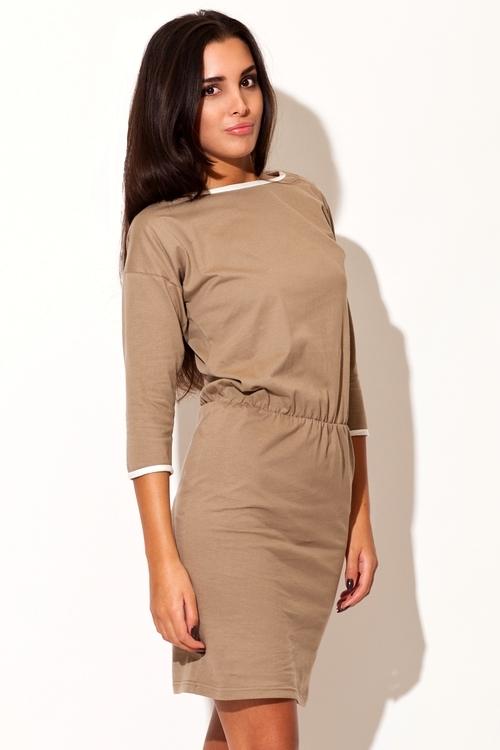 Dámské šaty Katrus K105 béžové