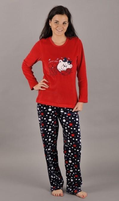 Dámské velurové pyžamo Vienetta Secret Méďa kulička