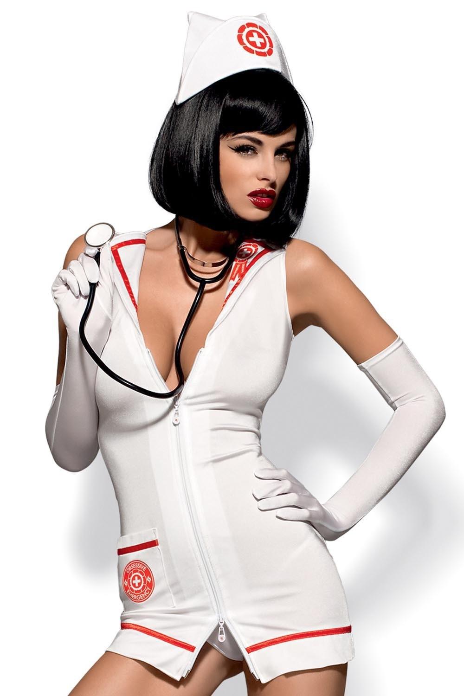 Dámský erotický kostým Obsessive Emergency dress a stetoskop XXL