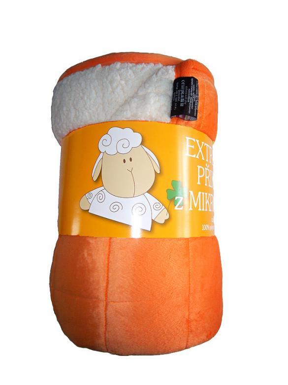 Deka mikrovlákno Ovce prošev oranžová/bílá