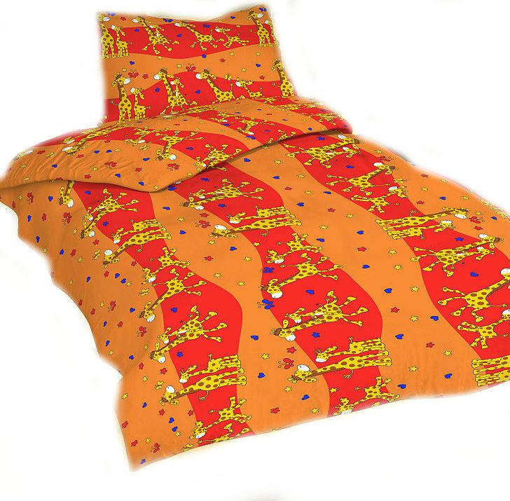 Dětské povlečení bavlna do postýlky - Žirafa červená