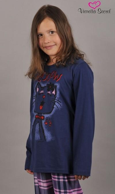 Dětské pyžamo dlouhé Vienetta Secret Kočka