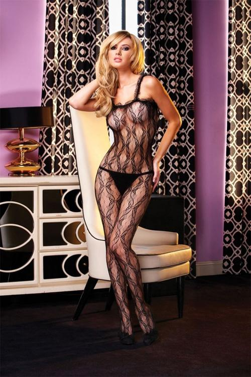 Erotické body Electric Lingerie  EH425 BLK Crotchless Lace Bodystocking