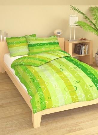Ložní povlečení bavlna DADKA Pruhy zelené