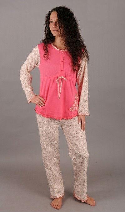 Mateřské pyžamo dlouhé Vienetta Secret Jemná kytička