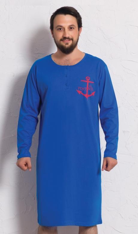 Pánská noční košile dlouhý rukáv Vienetta Secret Kotva
