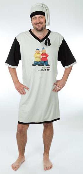 Pánská noční košile Pat a Mat s čepičkou A je to šedá