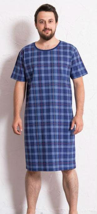 Pánská noční košile Vienetta Secret Kostka modrá
