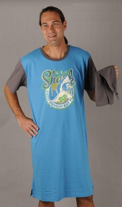 Pánská noční košile Vienetta Secret s čepicí - Shark bay