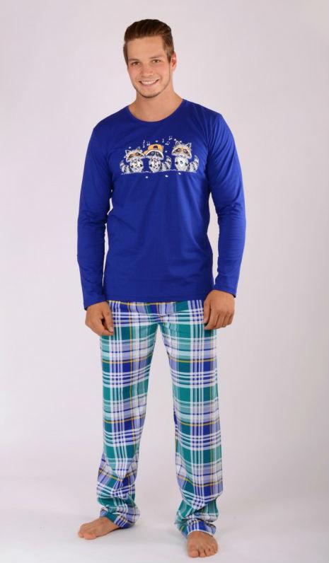 Pánské pyžamo dlouhé Vienetta Secret Mývalové modré