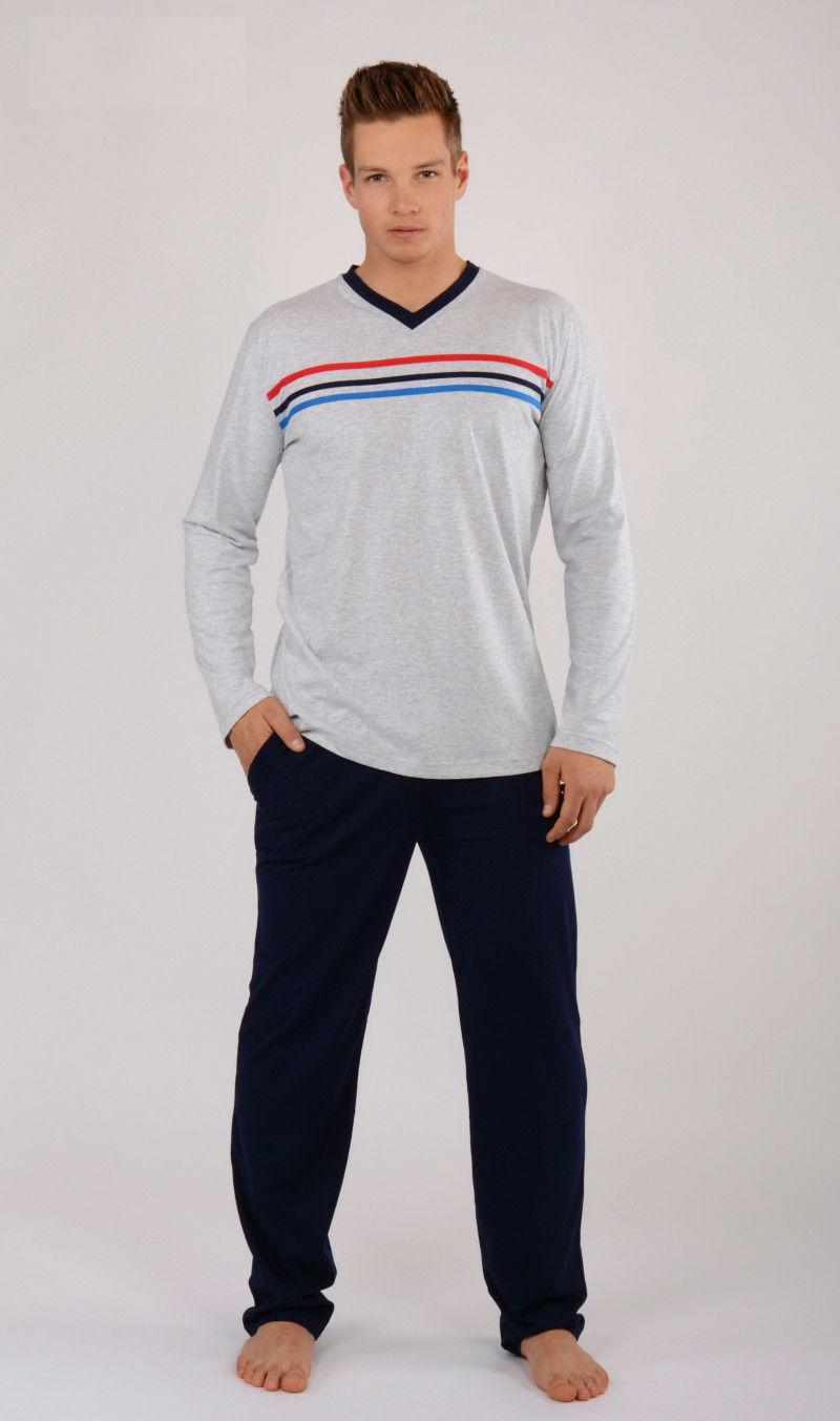 Pánské pyžamo dlouhé Vienetta Secret Pruhy výprodej
