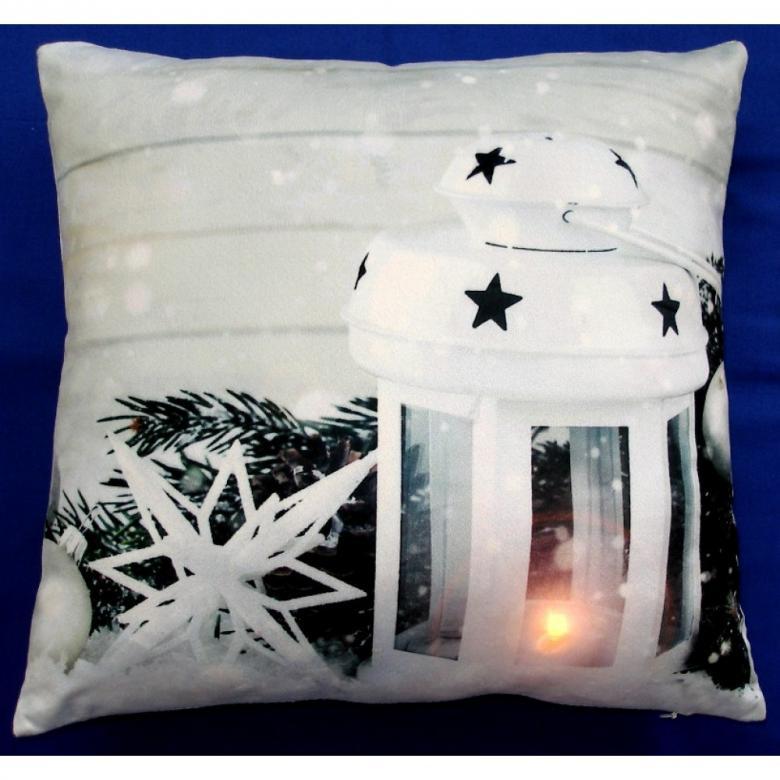 Svítící dekorační polštářek Bílá Lucerna 40x40 cm