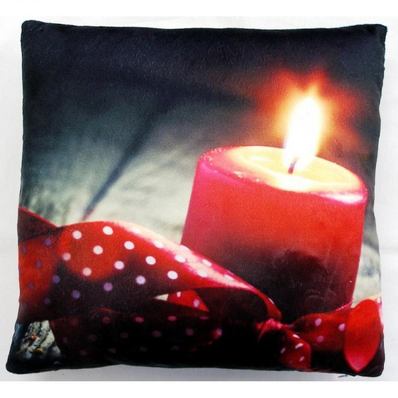 Svítící dekorační polštářek Červená svíčka 40x40 cm